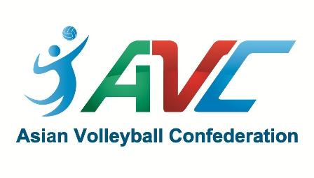 Das Bild zeigt das Logo der Asian Volleyball Confederation (AVC). Links zieht man ein Volleyballstrichmännchen. Rechts daneben stehen die Buchstaben AVC in grün, rot und blau. Darunter ist Asian Volleyball Confederation ausgeschrieben.