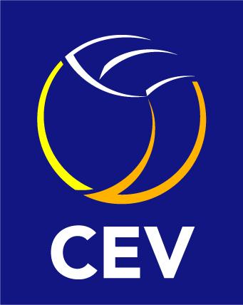 Das Logo der Confédération Européenne de Volleyball  zeigt den Schriftzug CEV mit einen Volleyballumriss oben drüber.