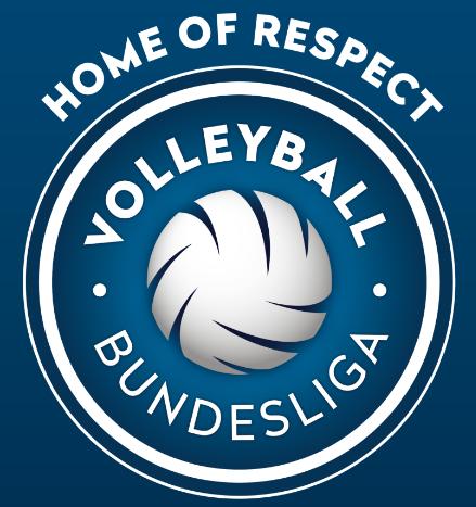 """Das Logo ist ein Kreis mit blauen Hintergrund und weißen Rand. Dort in der Mitte befindet sich wieder ein weißer Volleyball. Zwischen Volleyball und Rand steht noch Volleyball (oben) und Bundesliga (unten) in gekrümmter Schrift. Über dem Kreis steht noch der Slogan """"HOME OF RESPECT""""."""