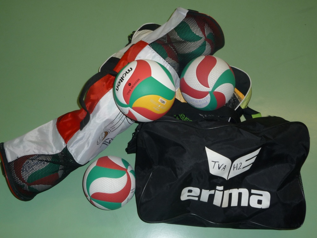 Das Bild zeigt 3 Volleyball-Balltaschen und 3 Volleybälle von Molten und Erima..
