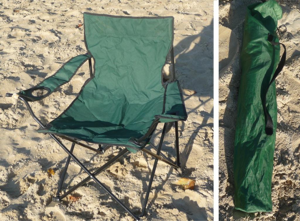 Das Bild zeigt einen faltbaren grünen Beachstuhl. Auf der linken Seite in ausgeklappter Form und auf der rechten Seite ist der Campingstuhl gefaltet