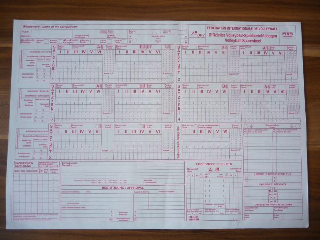 Das Bild zeigt einen blanko Spielberichtsbogen für Volleyball.
