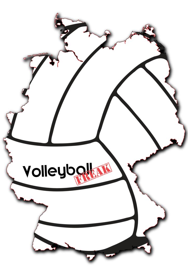 Das Bild zeigt die Umrisse von Deutschland. In die Karte ist ein Volleyball eingearbeitet und das Logo von Volleyballfreak ist zu sehen