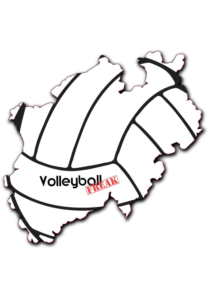 Das Bild zeigt die Karte von Nordrhein-Westfalen (NRW) mit den Umrissen eines Volleyballes und dem Volleyballfreak-Logo