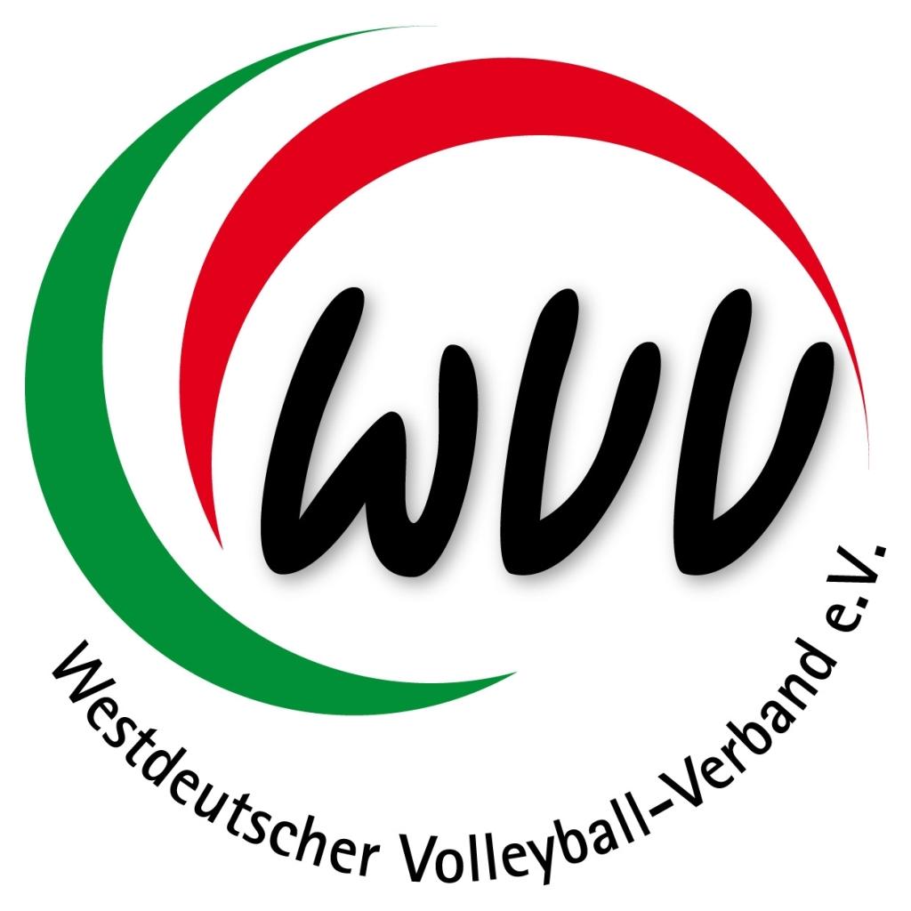 Das Bild zeigt das offizielle Logo des Westdeutschen Volleyball-Verbandes (WVV). Es zeigt einen grünen und roten Halbkreis, welche zusammen die Form eines Volleyballs andeuten. In der Mitt befindet sich das Kürzel WVV und unten drunter der Schriftzug Westdeutscher Volleyball-Verbande e.V.