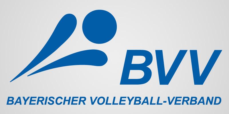 Das Bild zeigt das Logo des Bayerischen Volleyball-Verband (BVV). Es orientiert sich am Logo des DVV und ist in blau gehalten..