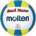 Das Bild zeigt den Molten Beach Master MBVBM. Das ist ein blau, gelb und weißer Beachvolleyball.