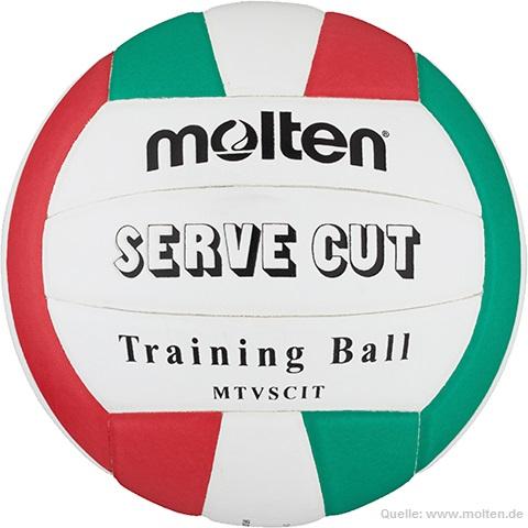 Das Bild zeigt den Molten Liberoball Serve Cut für das spezielle Training des Liberos im Volleyball. Der Ball ist in den Farben weiß, grün und rot gehalten.