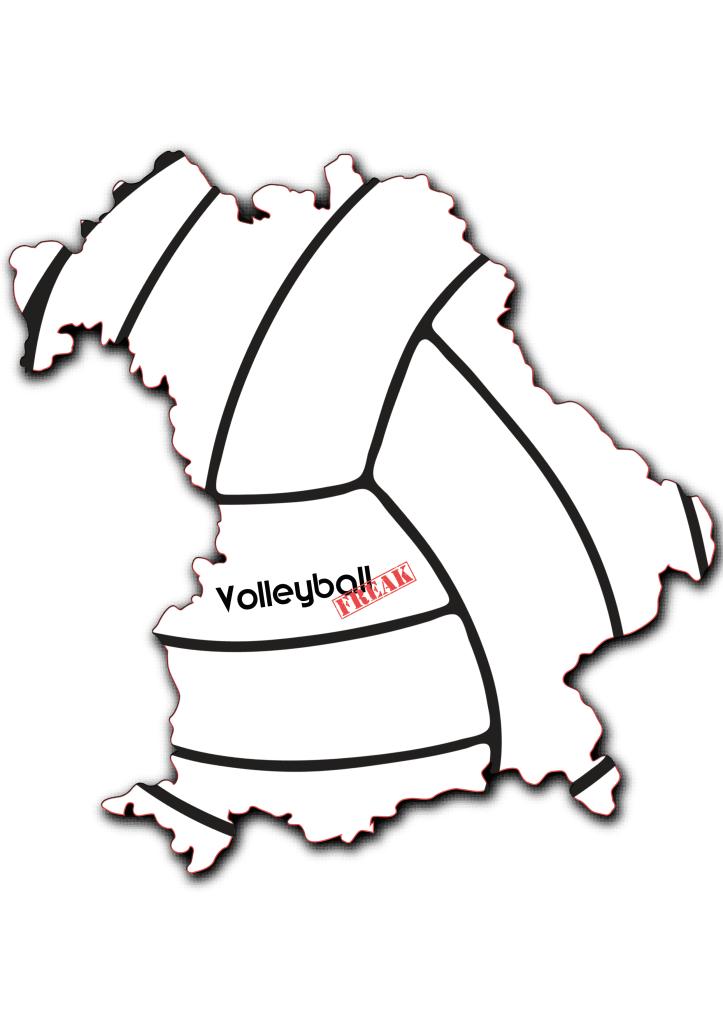 Das Bild zeigt den Umriss des Bundeslandes Bayern. Die Fläche ist gefüllt mit der Siluette eines Volleyballs. Weiterhin befindet sich das VolleyballFREAK Logo in der Mitte von Bayern angeordnet