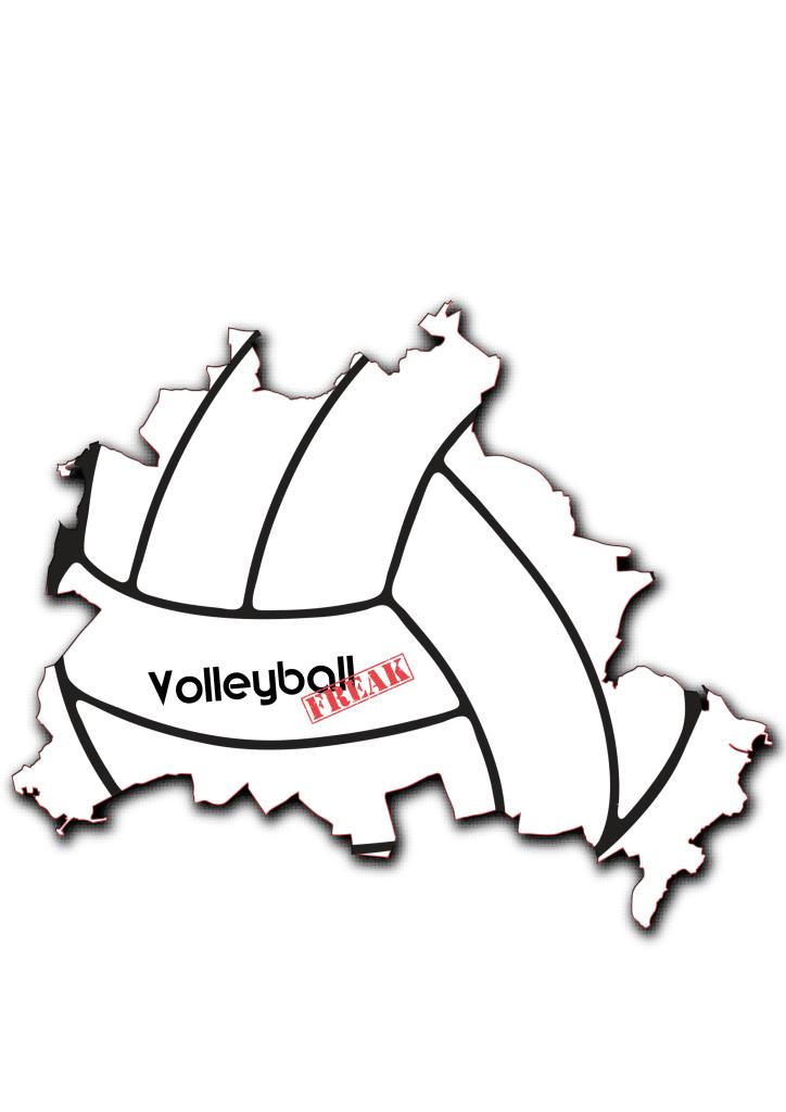 Das Bild zeigt die Umrisse von Berlin. In der Fläche von der Stadt sind die Umrisse eines Volleyballs zu sehen. Desweiteren ist in der Mitte das Logo von VolleyballFREAK