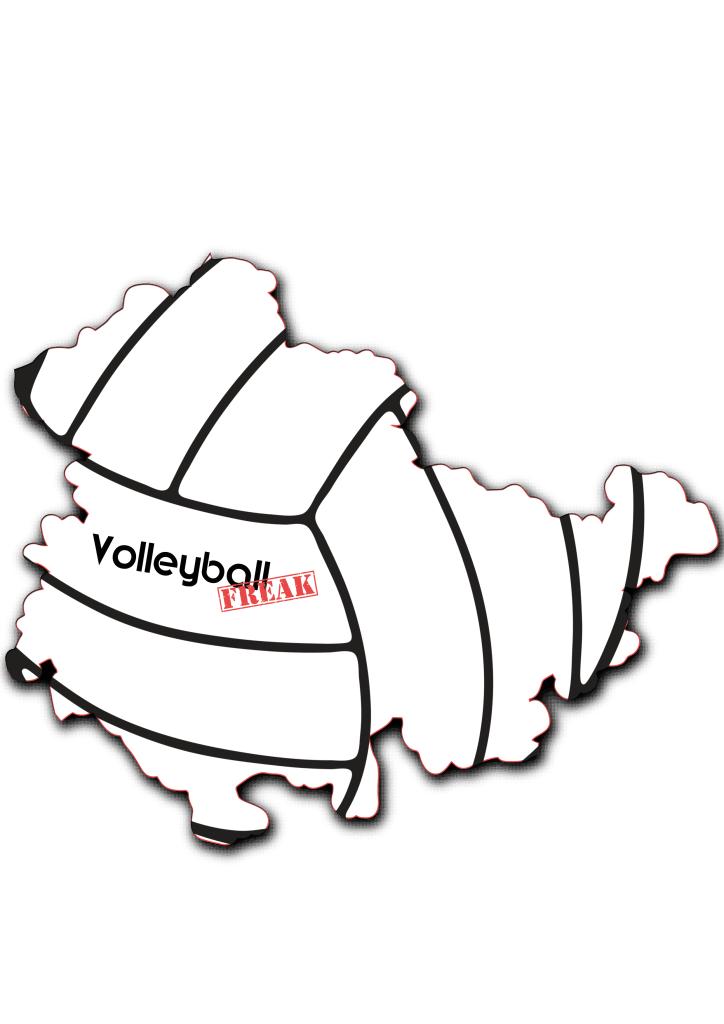Das Bild zeigt die Umrisse von Thüringen. In der Fläche von des Landes sind die Umrisse eines Volleyballs zu sehen. Desweiteren ist in der Mitte das Logo von VolleyballFREAK