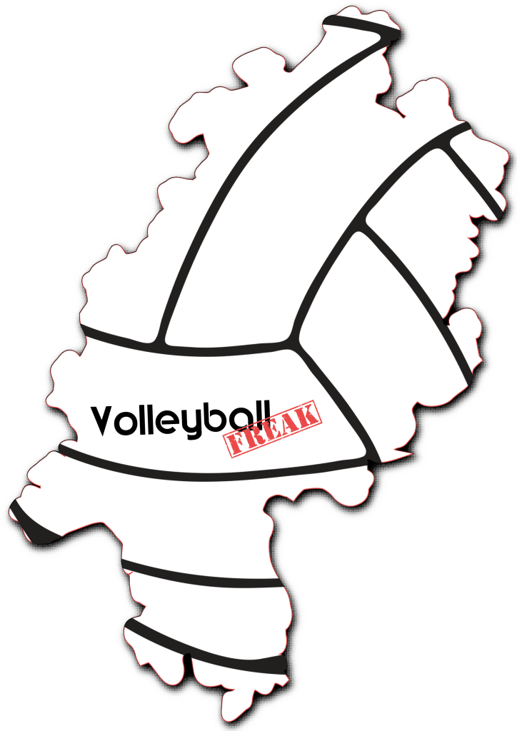 Das Bild zeigt die Umrisse von Hessen. In der Fläche von des Landes sind die Umrisse eines Volleyballs zu sehen. Desweiteren ist in der Mitte das Logo von VolleyballFREAK