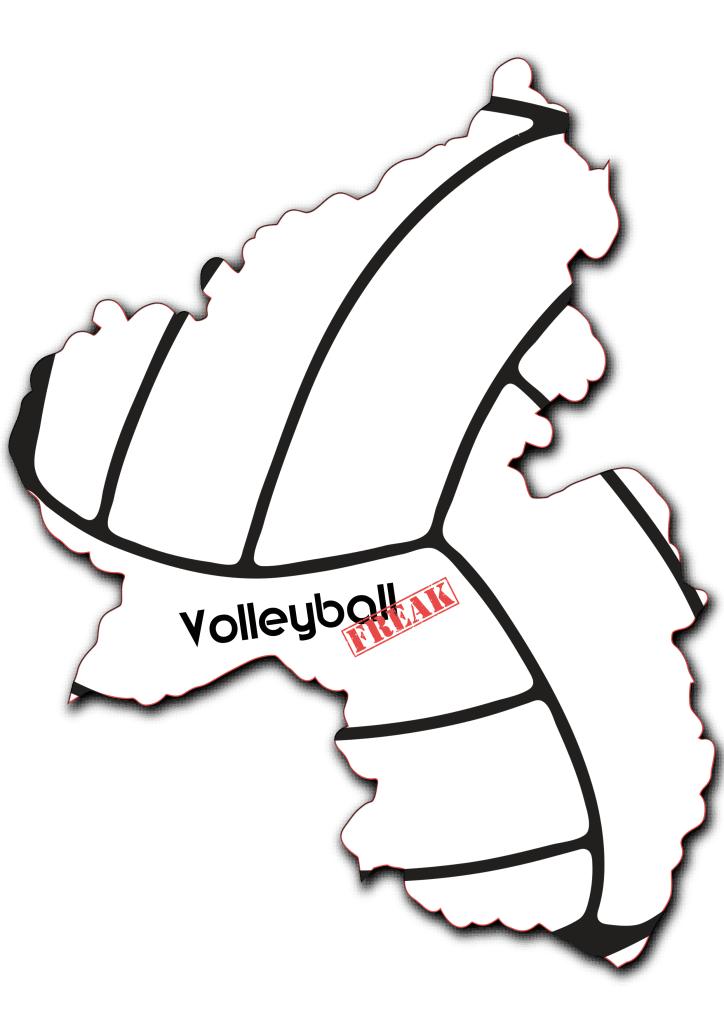 Das Bild zeigt die Umrisse von Rheinland-Pfalz. In der Fläche von des Landes sind die Umrisse eines Volleyballs zu sehen. Desweiteren ist in der Mitte das Logo von VolleyballFREAK