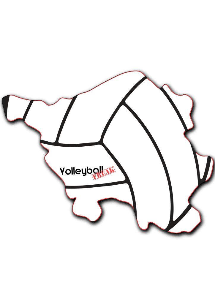 Das Bild zeigt die Umrisse von Saarland. In der Fläche von des Landes sind die Umrisse eines Volleyballs zu sehen. Desweiteren ist in der Mitte das Logo von VolleyballFREAK