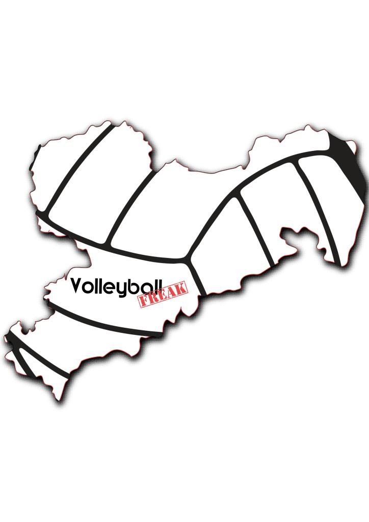 Das Bild zeigt die Umrisse von Sachsen. In der Fläche von des Landes sind die Umrisse eines Volleyballs zu sehen. Desweiteren ist in der Mitte das Logo von VolleyballFREAK