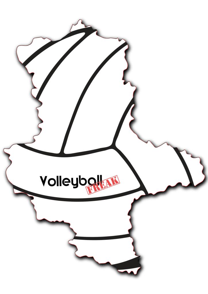 Das Bild zeigt die Umrisse von Sachsen-Anhalt. In der Fläche von des Landes sind die Umrisse eines Volleyballs zu sehen. Desweiteren ist in der Mitte das Logo von VolleyballFREAK