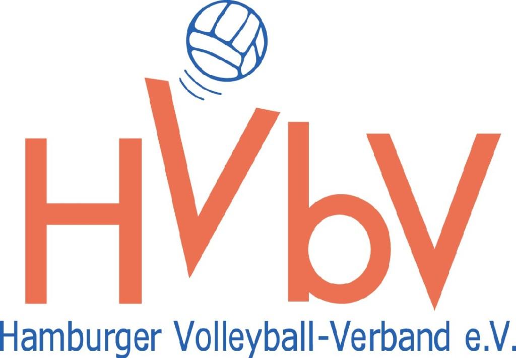 """Das Bild zeigt das Logo des Hamburger Volleyball Verbands. Dies ist ein roter Schriftzug """"HVbV""""."""