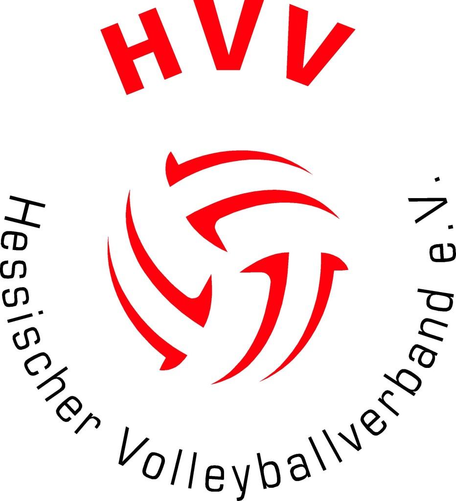 Das Bild zeigt das Logo des hessischen Volleyballverbandes. In der Mitte befinden die roten Konturen eines Volleyballs.