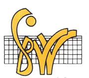 Das Bild zeigt das Logo des  Südbadischen Volleyball-Verband (SBVV). Der gelbe Schriftzug SBVV ist vor einem Volleyballnetz dargestellt.