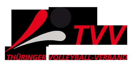 Das Bild zeigt das Logo des Thüringer Volleyball Verbandes (TVV). Es ist an das Logo vom DVV angelegt und mit roter Schrift versehen.