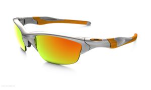 Das Bild zeigt die Oakley Sonnenbrille Half Jacket 2.0 W/Fire Iridium. Das Gestell ist silber mit orangenen Streifen