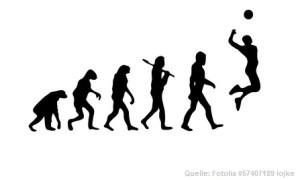 Das Bild zeigt die Volleyball Evolution vom Affen bis zum Volleyballer!