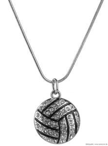 Eine Volleyball-Halskette mit Sonder Volleyball Form Design in der Farbe Silber!.