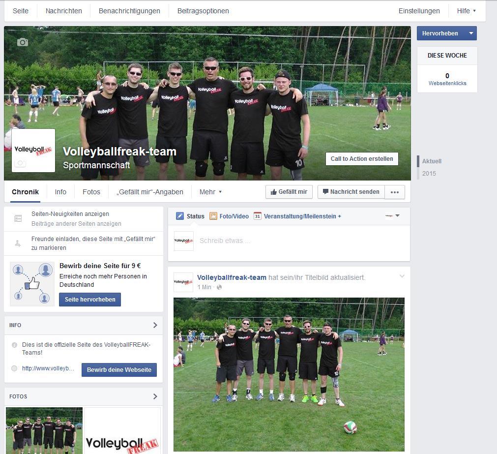 Das Bild zeigt die fertige Volleyball Facebook Fanpage.