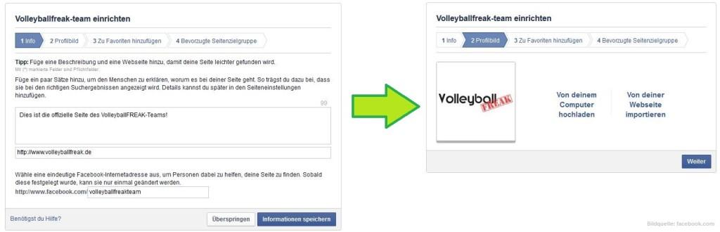 Das Bild zeigt 2 Schritte der Konfiguration eine Facebook-Fanpage für das Sportteam!
