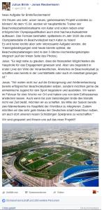 Das Bild zeigt Screenshot des Aprilscherz Facebookposts von Brink/Reckermann aus 2015