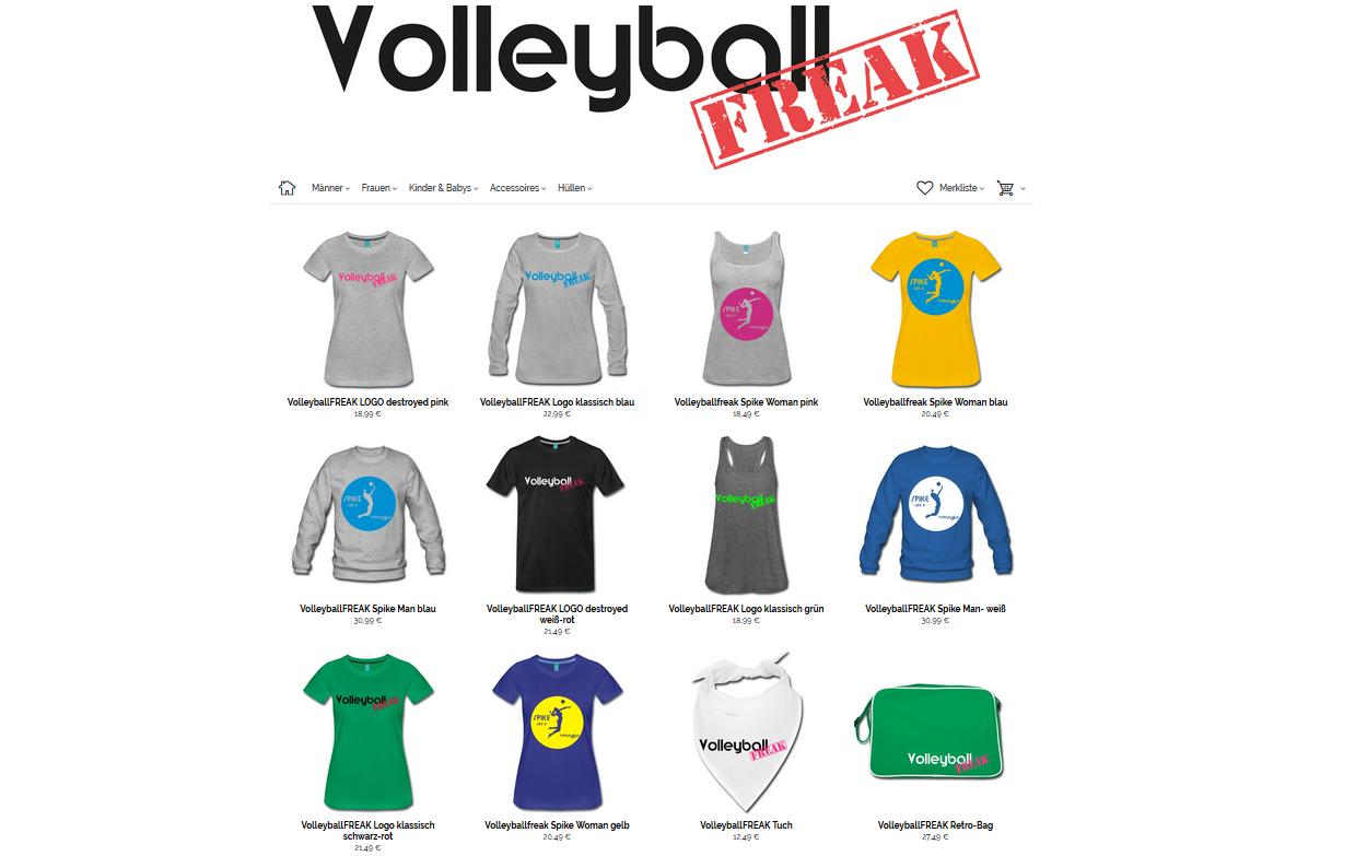 VolleyballFREAK-Shop ist da: Coole Shirts und vieles mehr vom VolleyballFREAK für alle Volleyball-Verrückten