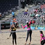 Angriff von Duda beim FIVB Beachvolleyball Major Hamburg 2016