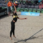 The photo shows Labourer with the Floating Jumpserve on FIVB Major Hamburg 2016