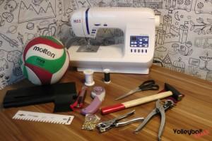 Das Bild zeigt das erforderliches Equipment für den DIY Volleyball Schlüsselanhänger