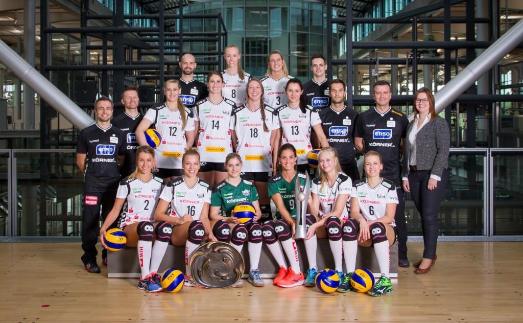 Double-Gewinner Dresdner SC Mannschaftsshooting 2016/2017 (Fotograf: Amelie Jehmlich/Art-n-Photo; Quelle: VBL)