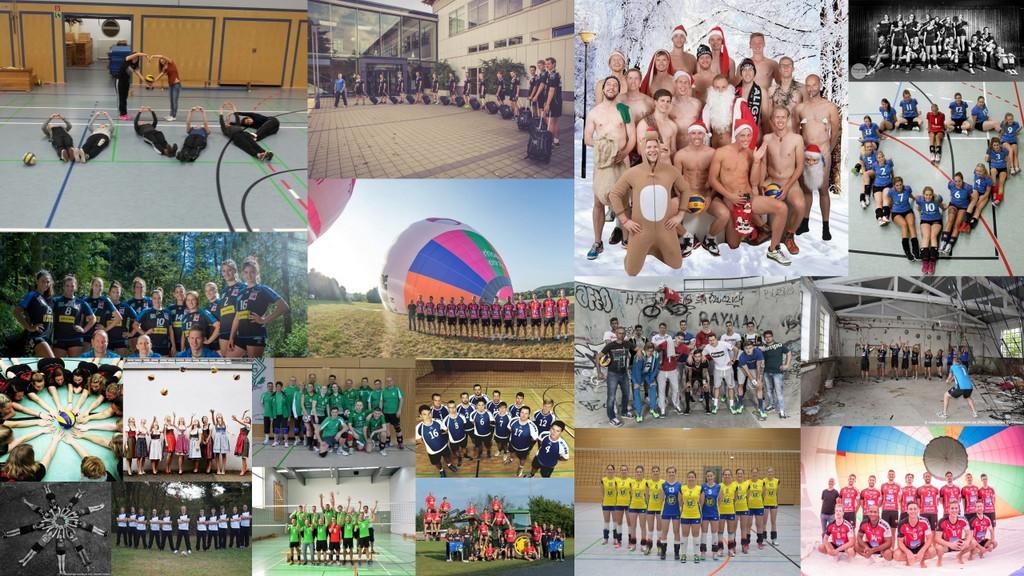 Die Collage zeigt praktische Beispiele für kreative Teamfotos