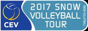 Die Abbildung zeigt das Logo der Snow Volleyball European Tour 2017.