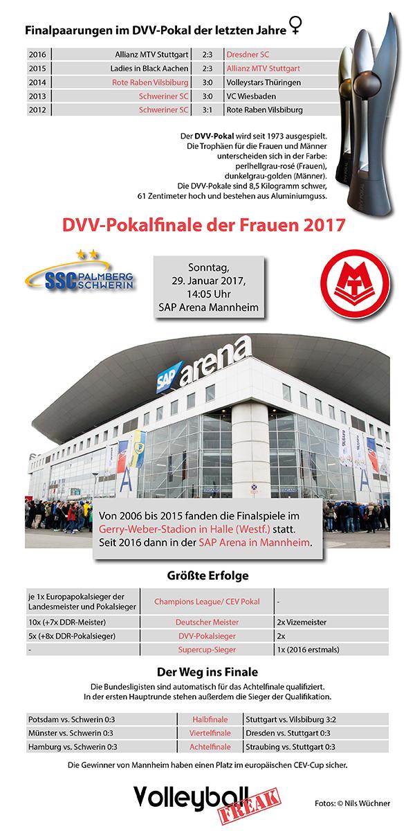 Die wichtigsten Infos zum DVV Pokalfinale der Frauen 2017 sind auf der Infografik dargstellt.
