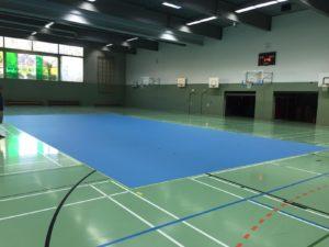 Das Foto zeigt ein fast fertiges Volleyballfeld.