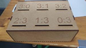 Das Foto zeigt die Tippspiel-Box vom TVA Hürth.
