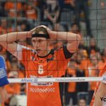 DAs Foto zeigt Mittelblocker Felix Fischer beim DVV-Pokalfinale 2017.