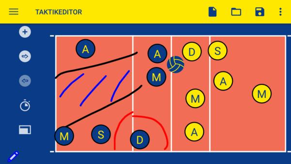 Das Bild zeigt einen Screenshot vom Taktikboard aus der Mein Volleyball App