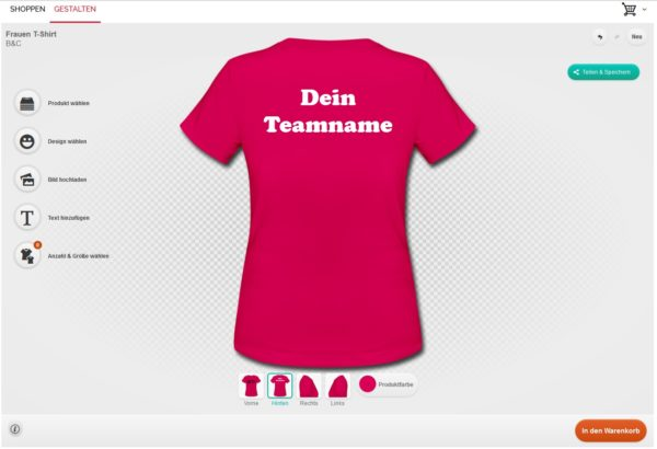 Screenshot vom T-Shirt Designer!
