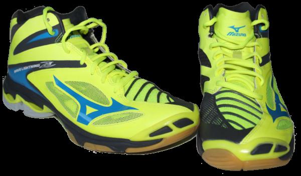 Das Foto zeigt ein Paar Volleyballschuhe Wave Lightning Z3 von Mizuno in den Farben Safety Yellow/Atomic Blue/Dark Shadow