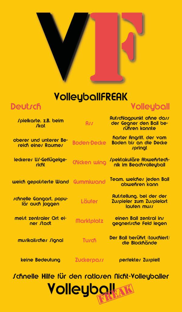 Dies ist eine Infografik für Nicht-Volleyballer mit typischen Volleyballbegriffen, deren Bedeutung sich nicht gleich erschließen.