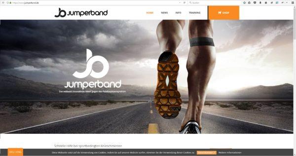 Das Foto zeigt einen Screenshot von der jumperband.de Webseite