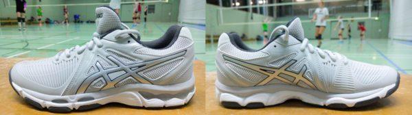 Das Foto zeigt den Volleyballschuh Asics Netburner Ballistic von beiden Seiten.