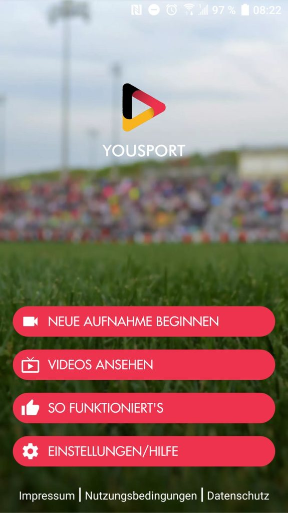 Screenshot der Yousport App