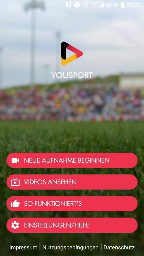 Screenshot der Yousport App