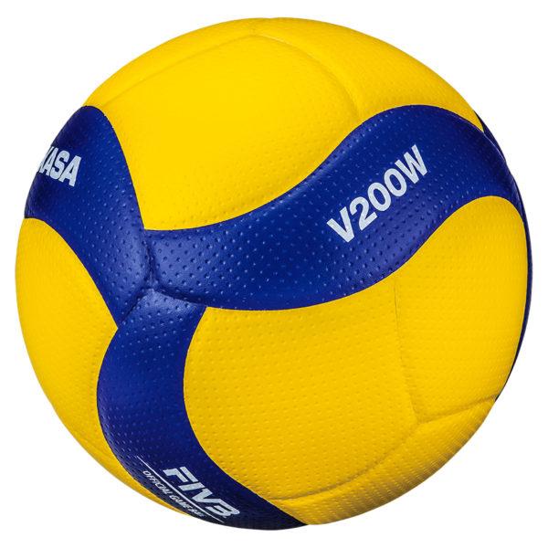 Der blau-gelbe Mikasa Volleyball V200W.